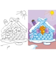 Coloring Book Of Fox In Ice House vector image vector image