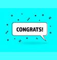 congrats speech bubble banner pop art memphis vector image