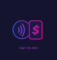 contactless payments with card tap to pay icon vector image vector image
