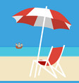 deck chair and umbrella on background vector image