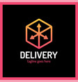 delivery box three arrow logotype colorful style vector image vector image