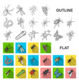 different kinds of insects flat icons in set vector image vector image