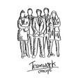 doodle five business people team in formal suit vector image vector image