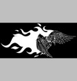 eagle with flames design vector image vector image