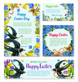 easter banner template with spring birds flowers vector image vector image