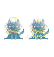 funny little cat or kitten saying meow kids style vector image vector image