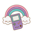 game boy with rainbow vector image