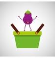 green basket market and tasty eggplant vector image vector image