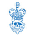 hairy pirate skull in the royal crown outline vector image vector image