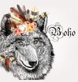 hand drawn portrait of boho wolf vector image