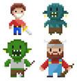 hero set pixel game geek and cavalier vector image vector image