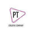 initial letter pt triangle design logo concept vector image vector image