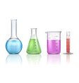 laboratory glassware 3d realistic set vector image vector image
