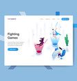 landing page template fighting games isometric vector image vector image