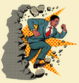leader african businessman breaks a wall destroys vector image vector image