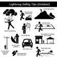 lightning thunder outdoor safety tips stick vector image vector image