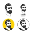 Man with beard hipster barbershop emblem vector image