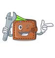 mechanic wallet mascot cartoon style vector image