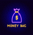 money bag neon label vector image vector image