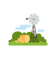 old farm windmill vector image
