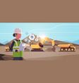 open pit woman worker in helmet using mobile app vector image vector image