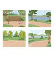 park summertime landscape river birds panorama vector image vector image