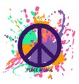 Peace Sign Over Colorful Grunge Background vector image vector image