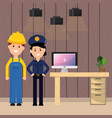 police woman and worker in office desk vector image