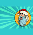 pop art santa claus face profile vector image vector image
