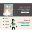 Profession Concept Ballerina and Coach Flat Design vector image