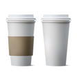 realistic coffee paper cup with blank space and vector image vector image