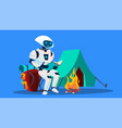 robot reading a book near fireplace vector image vector image