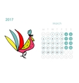 Rooster calendar 2017 for your design March month vector image vector image