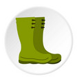 rubber boots icon circle vector image vector image