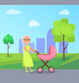 senior lady with trolley pram walking in city park vector image vector image