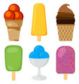 set of different multicolored creamy ice cream vector image