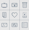 Set of Modern Thin Line Icons TV Apps Trash vector image