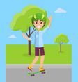 skateboarder in helmet riding on skateboard vector image