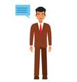 standing businessman with speech cartoon flat vector image vector image