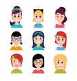 stylized beautiful young girls and women female vector image vector image