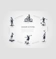 summer activities - bike soccer badminton vector image vector image