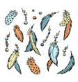 the feathers set hand drawn vector image vector image