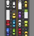 top view cars and trucks on road vector image