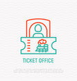 train ticket office line icon vector image