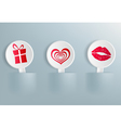 valentines day symbols on labels vector image vector image