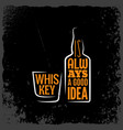 whiskey is always a good idea lettering background vector image vector image