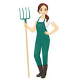 woman farmer with forks vector image vector image
