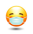yellow face face mask emotion icon vector image