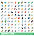 100 www icons set isometric 3d style vector image