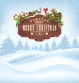 Winter Landscape with Wooden Sign and Decoration vector image